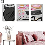 Anniutwo Heels and Dresses Abstract Painting Black Smart Cocktail Dress Perfume Make Up