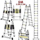 CRAVOG New 5M 2.5 + 2.5M Multipurpose Aluminum Alloy Telescopic Style Folding Extension Extenable Ladder