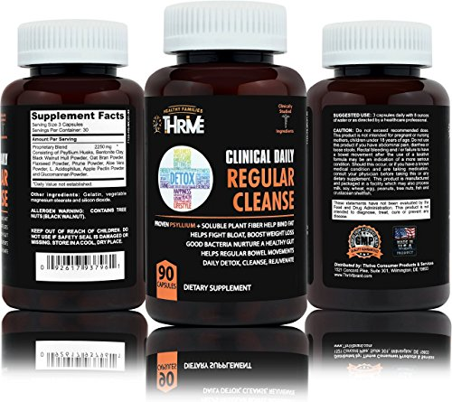 - CLINICAL DAILY Regular Cleanse. Psyllium Fiber & Flax Seed Supplement capsules. Natural fibers support Heart Health, Weight Loss & Energy. Plus Probiotic for Digestion. 90 Ct