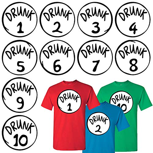 Calculs Drunk 1 and Drunk 2 Shirts Transfers Drunk 1-10 Iron On Heat Transfers for T-Shirts Costume 10 Sheets 10 Inches Large Vinyls
