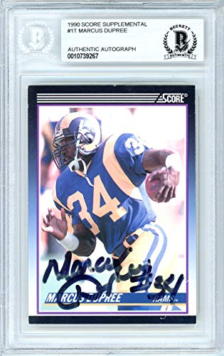 1990 Score Autographed Card - Marcus Dupree Autographed 1990 Score Rookie Card Autographed #1T Oklahoma Rams - Beckett Authentic