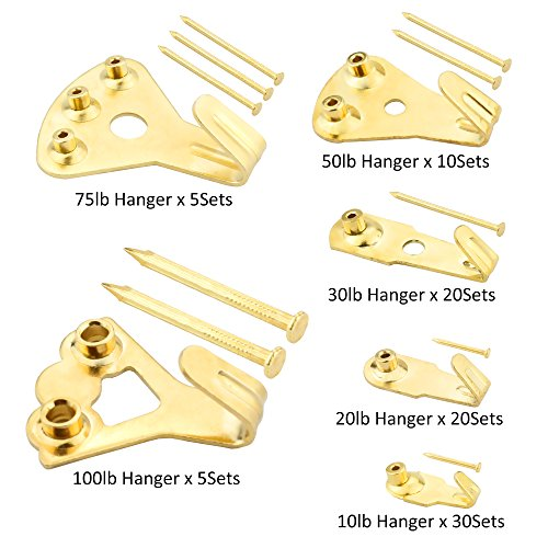 205 Pcs Professional Picture Hangers, Gold Color Picture Photo Frame Hooks Hanging Kit for Wall Mounting with 3 Sizes Pin Nails,Supports 10-100 lbs & Reduce damage to walls by ONEONEY (Image #1)
