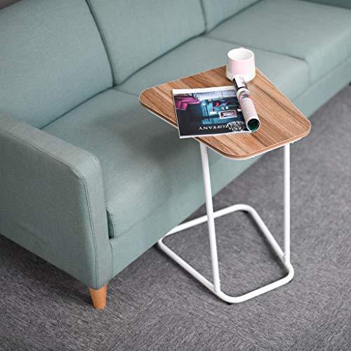 (Sodoop C-Shape Snack Table, Bedside Computer Desk Metal Frame Slats Snacks Desk and Laptop Lazy Tray for Living Room Bedroom)
