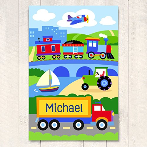 Olive Kids Trains Planes and Trucks Personalized Unframed Art Print