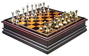 Grace Chess Inlaid Wood Board Game with Metal Pieces - 12 Inch Set