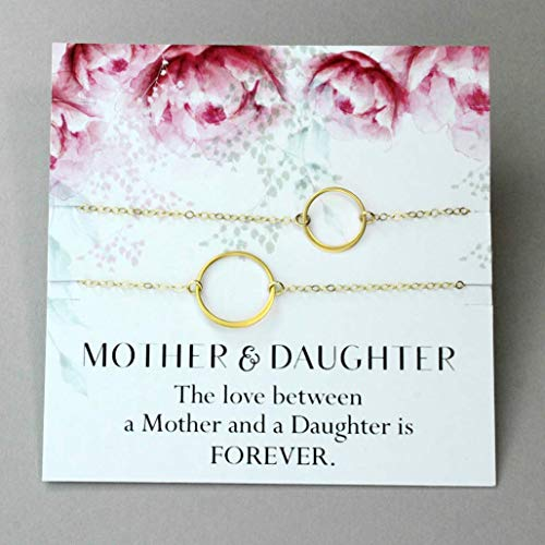 Mother and Daughter Bracelet, 24k Gold Vermeil Eternity Rings, Gift from Daughter ()