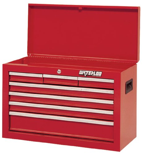 Waterloo Shop Series 7-Drawer Tool Chest with Full-Extension Friction Drawer Slides, Red Finish, 26