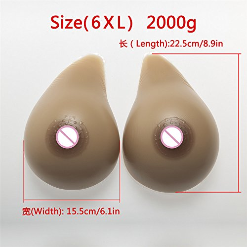 ZHS 2000g/Pair Crossdress Silicone Breast Form Drag Queen Breast Fake Boobs Shemale Transvestite False Breast Artificial Woman Body by Sex Toys