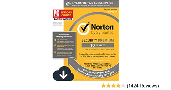 Norton Security Premium – Antivirus software for 10 Devices with Auto  Renewal, Requires Payment Method – 1 Year Pre-Paid Subscription
