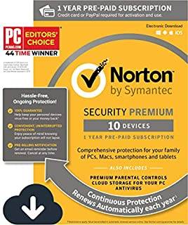 Norton Security Premium - Antivirus software for 10 Devices with Auto Renewal, Requires Payment Method - 1 Year Pre-Paid Subscription [PC/Mac/Mobile Download] (B015724RQI) | Amazon Products
