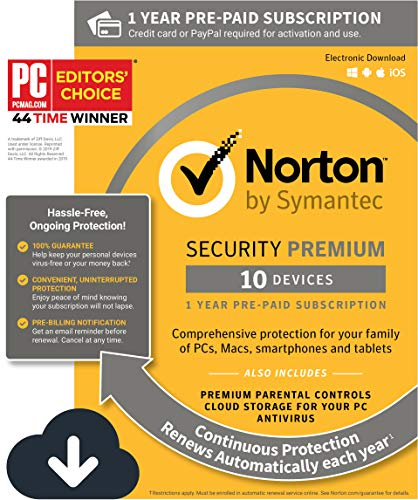 Norton Security Premium - Antivirus software for 10 Devices with Auto Renewal, Requires Payment Method - 1 Year Pre-Paid Subscription [PC/Mac/Mobile Download] (Best Protection For Pc 2019)
