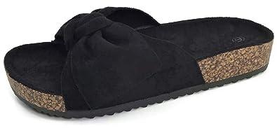 10fc669730f Womens Slides Sandals Slip On Bow Twist Knot Comfortable Cork Sole