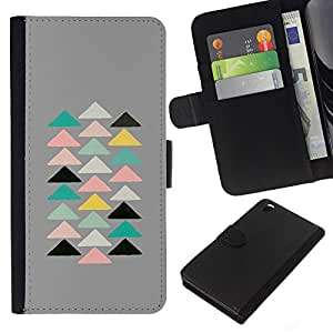 KLONGSHOP // Tirón de la caja Cartera de cuero con ranuras para tarjetas - Pirámide Arte Moderno Espiritual - HTC DESIRE 816 //