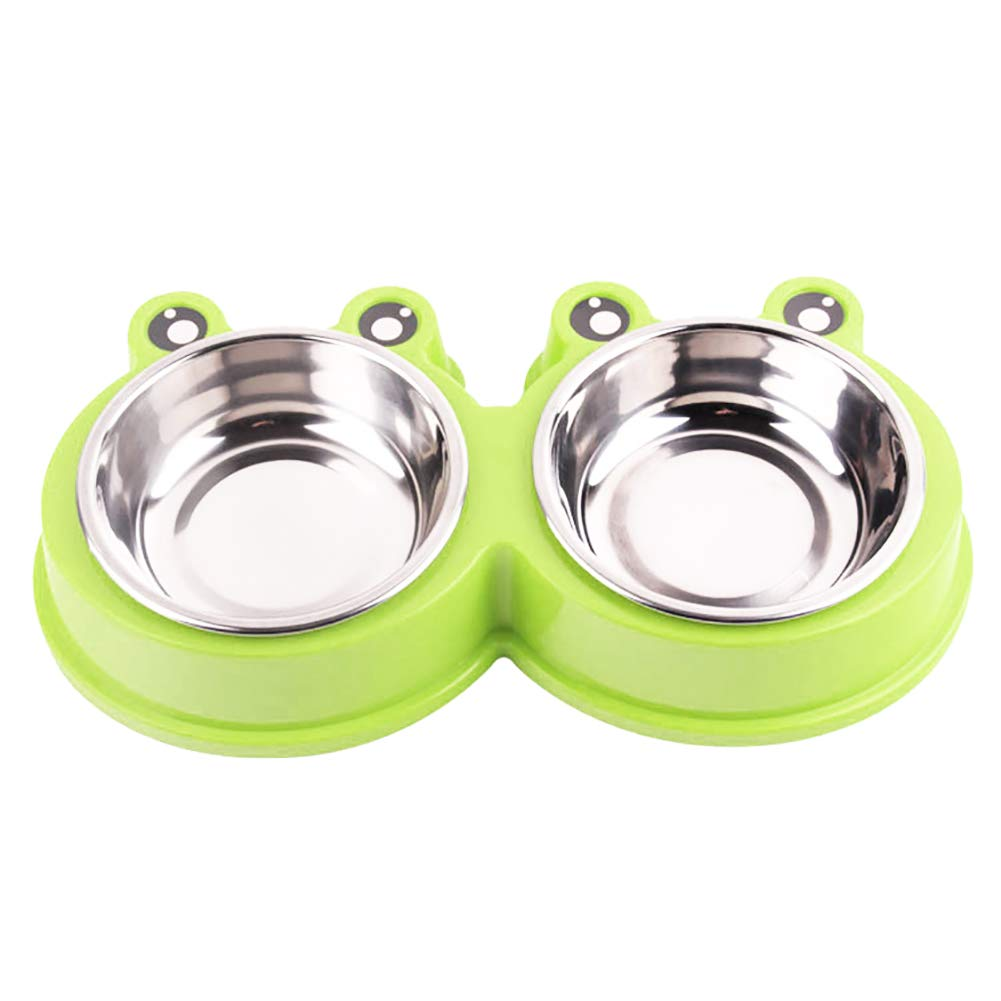 Green Gyswshh Pet Bowl Cute Frog Shape Food Water Container Stainless Steel Dog Cat Feeder  bluee