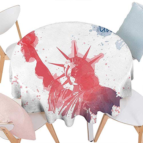 cobeDecor 4th of July Washable Round Tablecloth Watercolor Lady Liberty Silhouette with Paint Splashes Independence Waterproof Round Tablecloths D60 Dark Coral Pale Blue