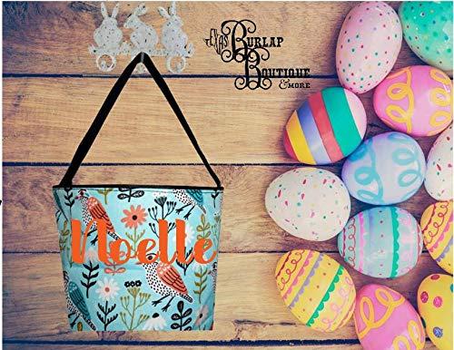 Birds and Flowers Easter Basket Bucket, Personalized Easter Basket, Personal Bucket Tote, Monogram Easter Basket, Monogram Gift Bag