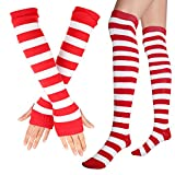 Womens Extra Long Striped Socks(Over Knee High Opaque Stockings ) & Long Arm Warmer Gloves(Punk Gothic Rock) (Red & White, OneSize)