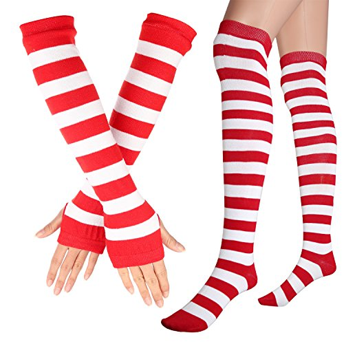 Womens Extra Long Striped Socks(Over Knee High Opaque Stockings ) & Long Arm Warmer Gloves(Punk Gothic Rock) (Red & White, -