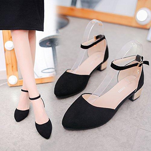 tacón Qiqi negro Solo zapatos mujer zapatos Solo palabra de Baotou punta Satén 143356