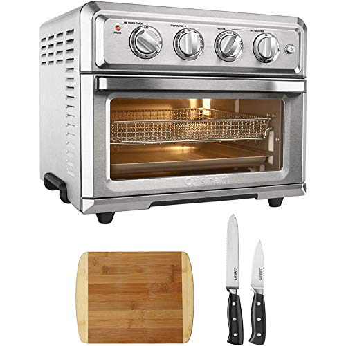 Cheap Cuisinart Convection Toaster Oven Air Fryer with Light Silver (TOA-60) with Cuisinart Triple Rivet Collection 3-Piece Knife Set & Premium Two Tone Bamboo Cutting Board
