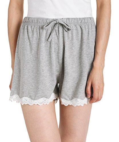 Latuza Women's Cotton Solid Boxer Shorts Lace Hem Pajamas Shorts L Light Gray