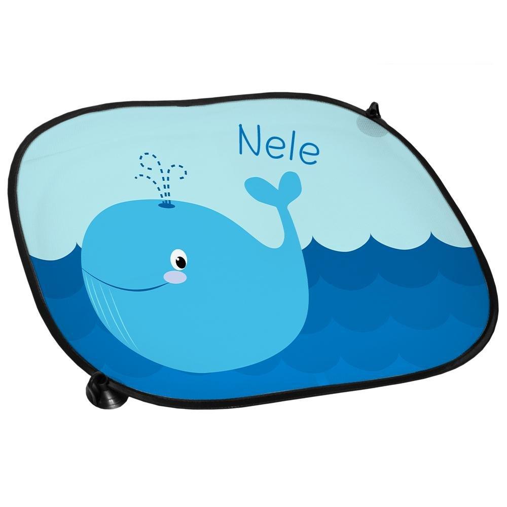 Sichtschutz Sonnenblende Auto-Sonnenschutz mit Namen Nele und sch/önem Motiv mit Wal f/ür M/ädchen Auto-Blendschutz