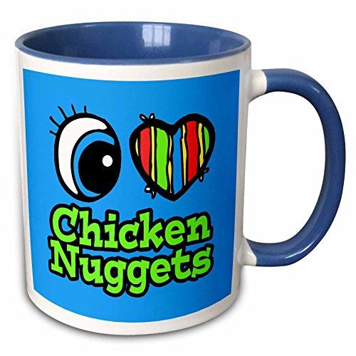3dRose 105956_6 Bright Eye Heart I Love Chicken Nuggets Two Tone Blue Mug 11 oz - Eye Nugget