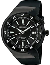 Seiko Men's SKA453 Kinetic Black Ion Finish Urethane Strap Watch