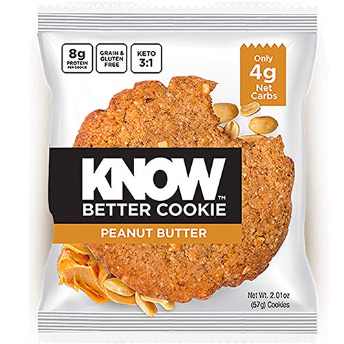 KNOW Foods - KNOW Better Cookie, Peanut Butter, Keto Snack, Low Carb Snack, Protein Cookie, Gluten Free, 2.01oz Cookie, 8 Count ()