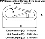 """1/4"""" Stainless Steel Harness Style Snap Link"""