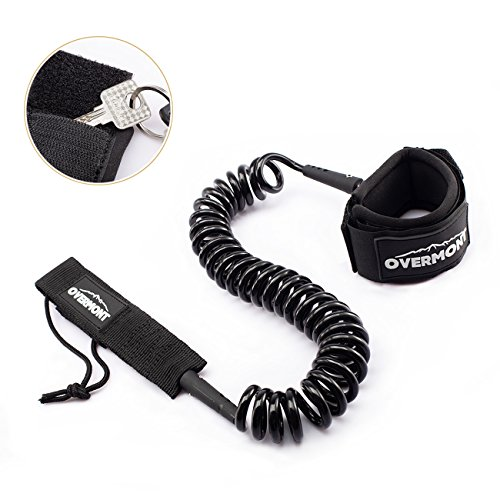 Overmont Sup Leash Coiled 10 ft TPU Safety for Wipe-Out Paddle Board Surfing Black by Overmont