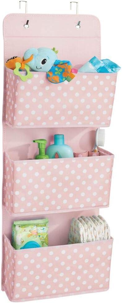 mDesign Organizador de armarios con 3 bolsillos – Sistema de almacenamiento para habitación infantil – Estantes colgantes con estampado de puntos para zapatos y ropa infantil – rosa/blanco