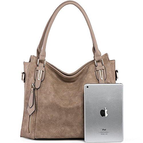 Purse Ladies Uncle Satchel Zipper Tote Top Medium Leather Khaki y handle Handbags Shoulder Women Bags For Pu qgxn1XT
