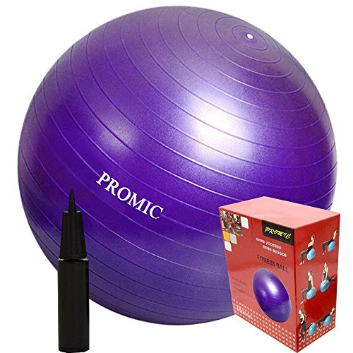 PROMIC 65cm Anti-Burst Exercise Stability Ball with Pump, Purple