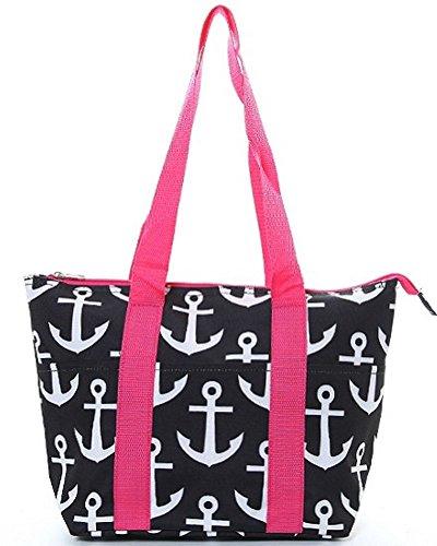 Shoulder Strap Patterned Cooler Lunch Tote Bag (Black Pink Anchor)