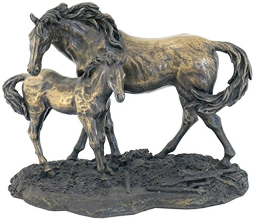 Bronze Horse - 7.25 Inch Standing Horses Mare and Foal Cold Cast Bronze Figurine
