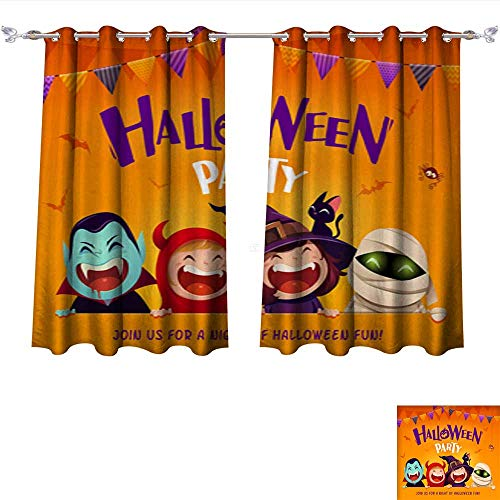 DragonBui Customized Curtains Halloween Party Group of Kids in Halloween Costume with Big Signboard 2 Thermal Insulated Blackout Curtains W55 x L39/Pair