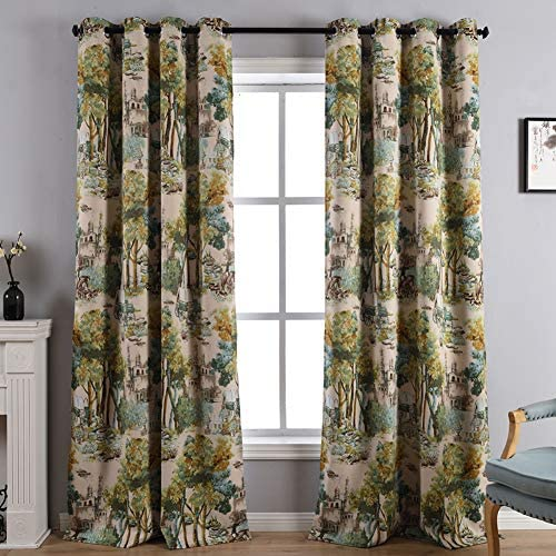 Kotile Forest Castle Nature Art Decor Watercolor Style Room Darkening Blackout Curtains with Floral Design Digital Printing, 2 Panels 95 Inch Length Grommet Window Drapes for Bedroom