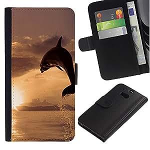 KLONGSHOP // Tirón de la caja Cartera de cuero con ranuras para tarjetas - Dolphin Sol - HTC One M8 //