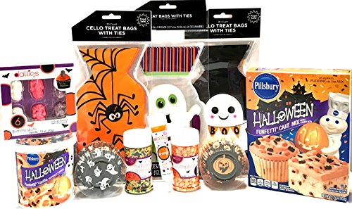 Halloween Baking and Treat Kits! Halloween Cupcake Mix, Halloween Cookie Cutters, Halloween Treat Bags - Halloween Party Supplies! (Cupcake Kit - Dallies Halloween Baking Kit)