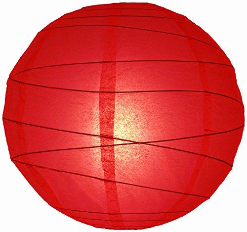 "Quasimoon 36"" Red Round Paper Lantern, Crisscross Ribbing, Hanging Decoration by PaperLanternStore"
