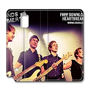 iCustomonline 5 Seconds Of Summer Leather Standup Cover for Samsung Galaxy Note 4