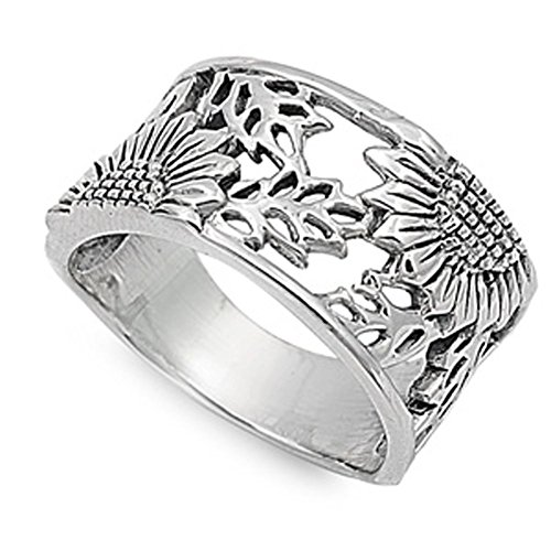 - Sterling Silver Women's Sunflower Ring Flower 925 Wide Band 14mm Size 10