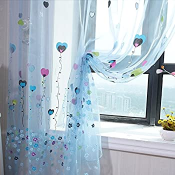 edal balloon tulle voile door window curtain drape panel sheer scarf valances blue - Blue And White Window Curtains