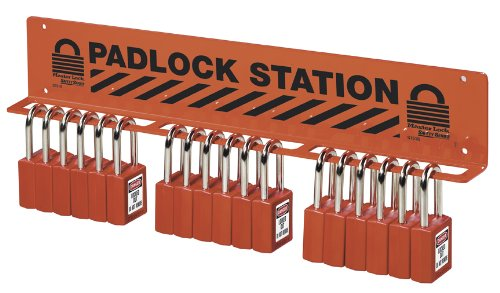 "Master Lock 18-Padlock Wall Bracket, Legend ""Padlock Station"""