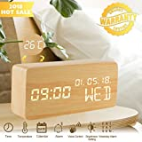 Wood Alarm Clock,Digital Clocks for Bedrooms Voice Command Beside LED Modern Wooden Cube Clock Mini Alarm Clock 3 Levels Brightness 3 Alarms Small Desk Clock Show Time Date Week Temperature for Office