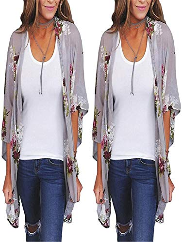 Respctful ♫♫Womens Summer Cardigan Lightweight Boho Floral Print Beach Bikini Cover Ups Boho Kimono Cardigan Blouse Tops - Lapel Silver Pins Lion Sterling