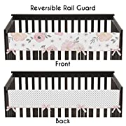 Sweet Jojo Designs Blush Pink, Grey and White Long Front Crib Rail Guard Baby Teething Cover Protector Wrap for Watercolor Floral Collection by