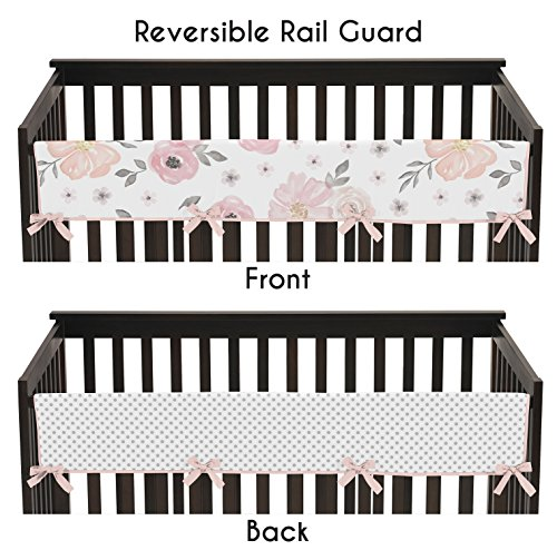 Sweet Jojo Designs Blush Pink, Grey and White Long Front Crib Rail Guard Baby Teething Cover Protector Wrap for Watercolor Floral Collection by by Sweet Jojo Designs