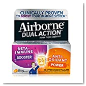 Airborne Dual Action Citrus Effervescemt Tablets, 10 count - 1000mg of Vitamin C - Beta Immune Booster and Anti Oxidant